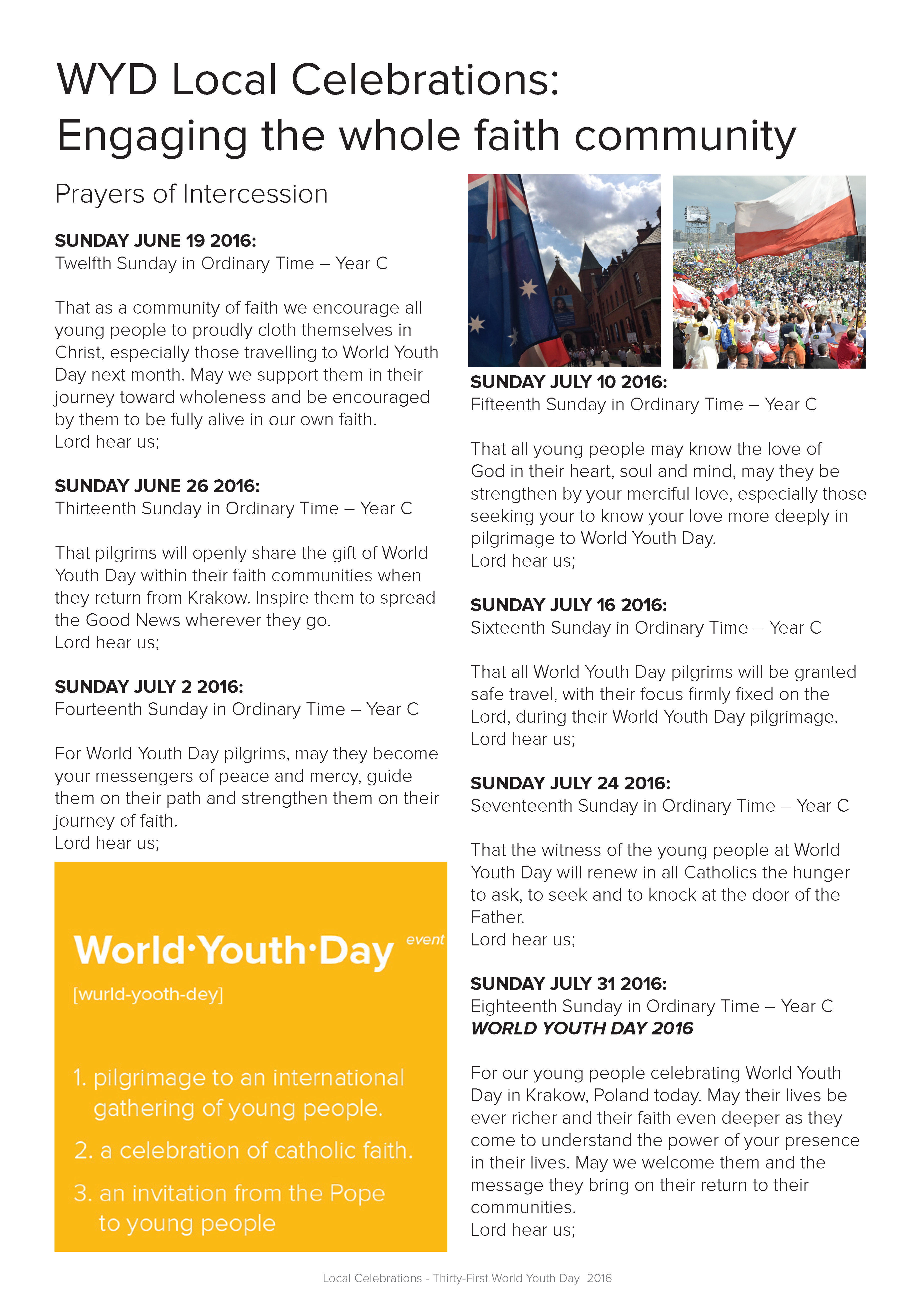 Local Celebrations WYD 2016 Page 1
